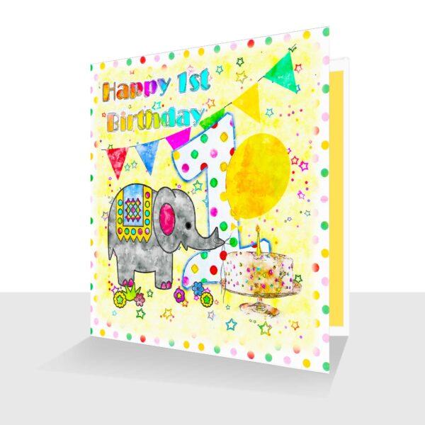 Elephant 1st Birthday Card