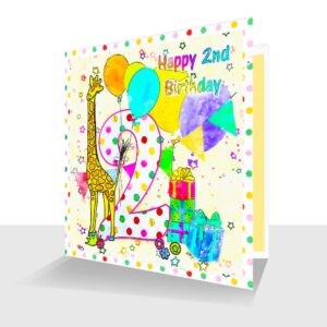 Colourful 2nd Birthday Card