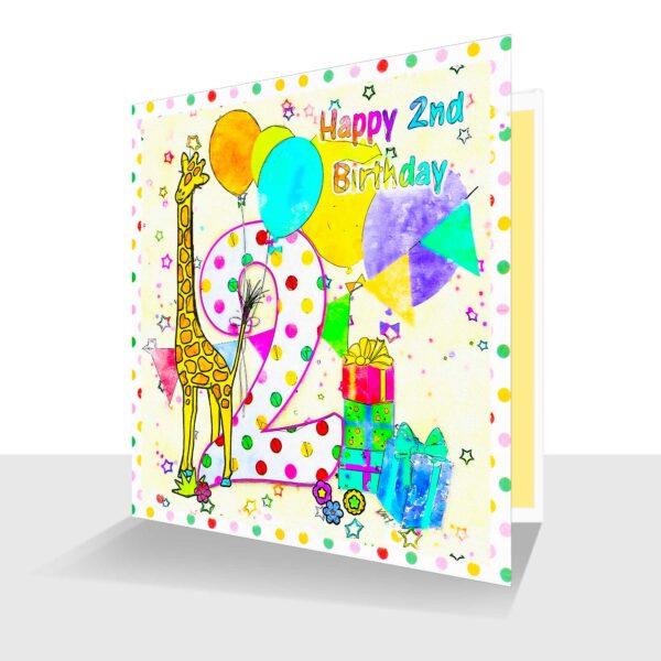 Colourful 2nd Birthday Card