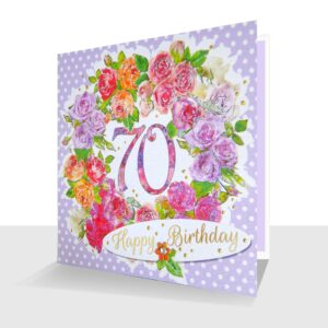 70th Birthday Card : Colourful Roses