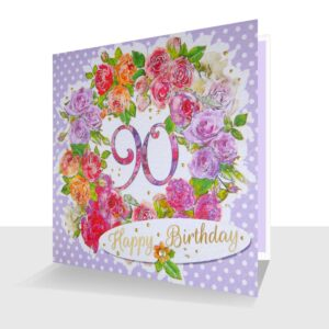 90th Birthday Card : Colourful Roses