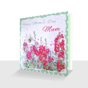 Happy Mothers Day Mum Card: Pink Hollyhocks