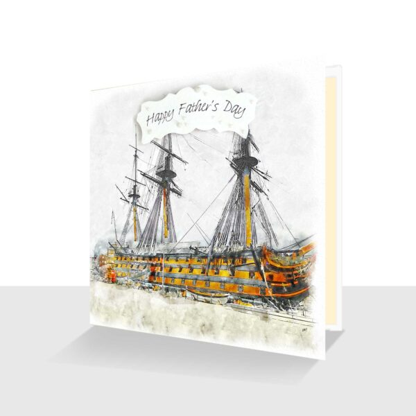 Happy Father's Day Card -HMS Victory Watercolour