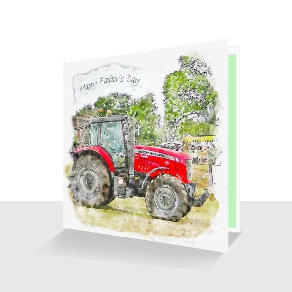 Red Tractor Father's Day Card -Watercolour