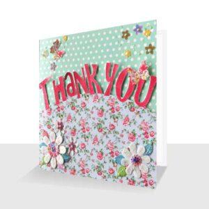 Unique Thank You Card : Luxury 3d Design Greens