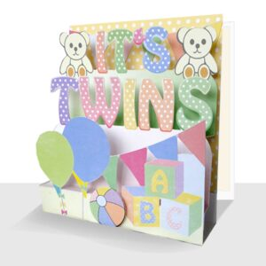 Its Twins New Baby Card - Luxury Handmade 3d Card