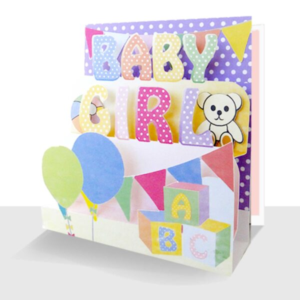 New Baby Girl Card - 3D Baby Girl Greeting Card