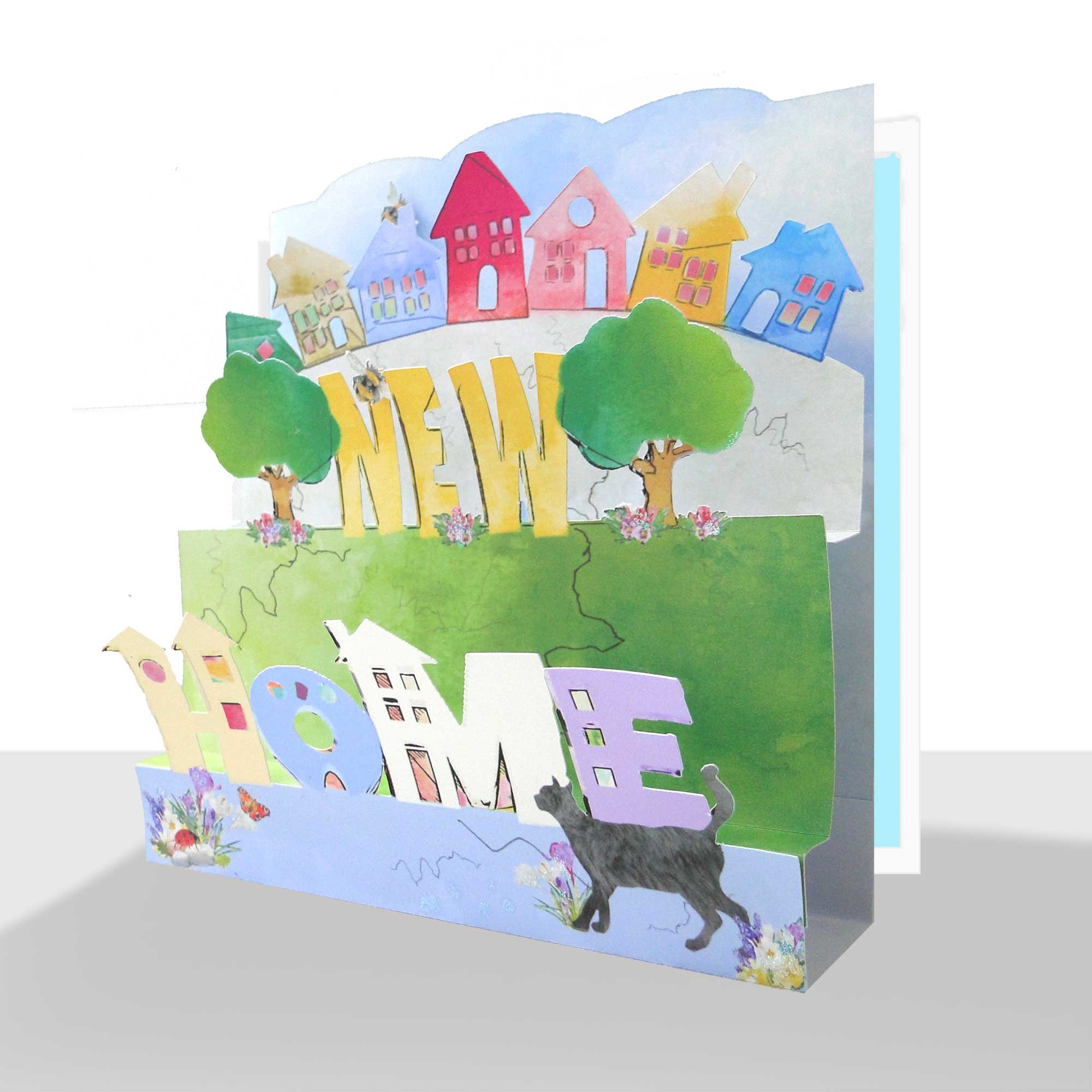 3D New Home Card - Luxury Pop Up Handmade A luxury pop up New Home Card hand embellished with bees and a touch of sparkle.