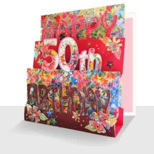 50th Birthday Card 3D- Luxury Pop Up Handmade