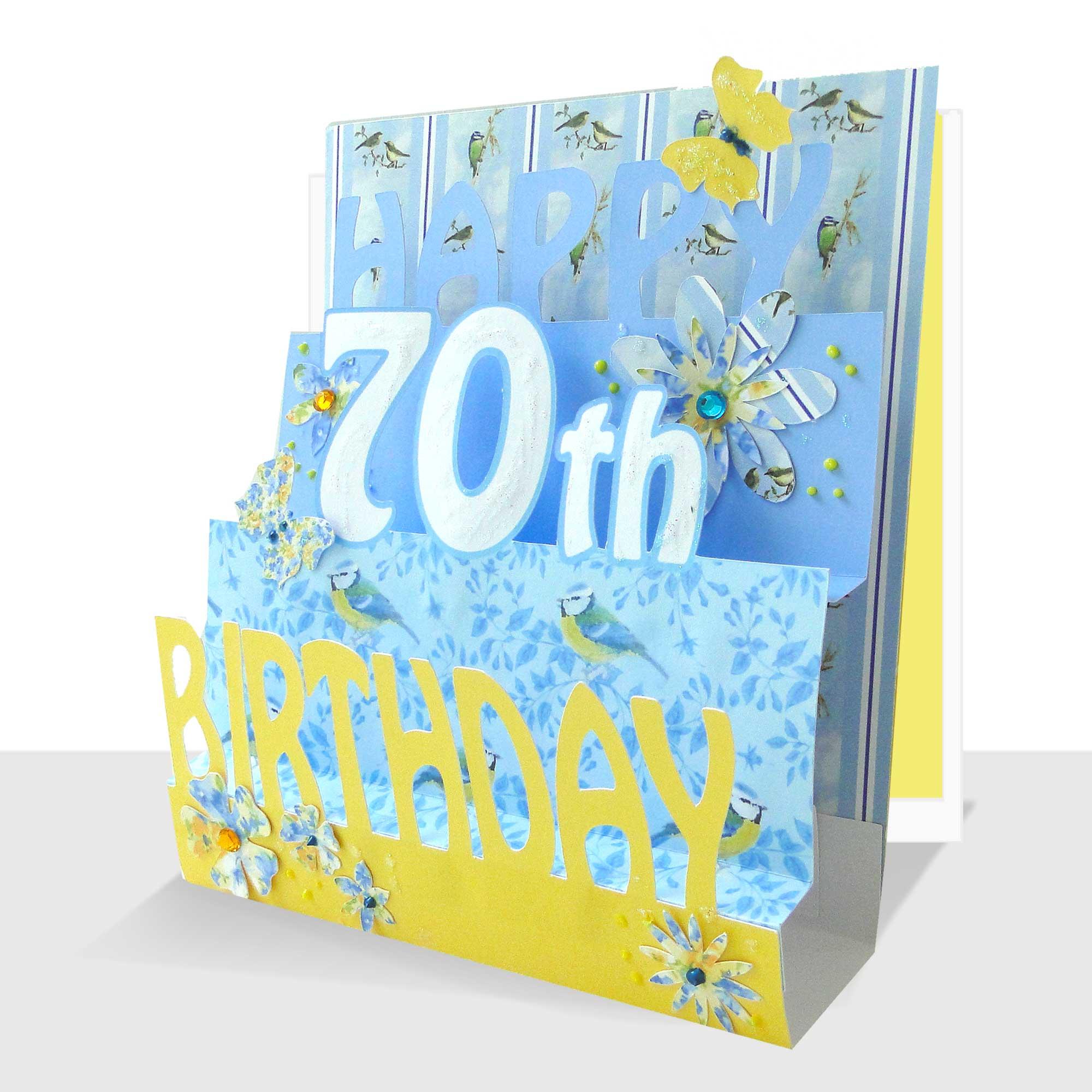 70th birthday card 3d luxury pop up handmade  paradis