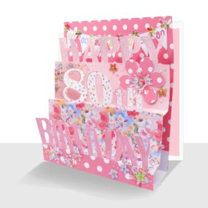 80th Birthday Card 3D- Luxury Pop Up