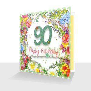 Happy 90th Birthday Card : Summer Flowers