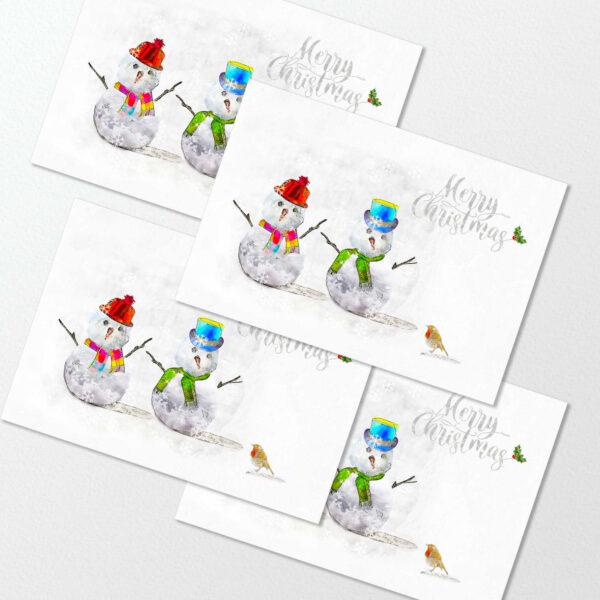 4 Pack Christmas Cards : Cute Snowmen