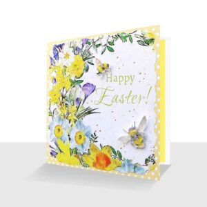 Happy Easter Card Spring Flowers Unique Springtime Bee Card