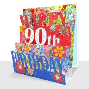 90th Birthday Card 3D - Luxury Pop Up Handmade