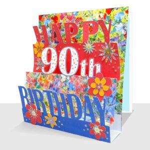 90th Birthday Card 3D - Luxury Pop Up Handmade
