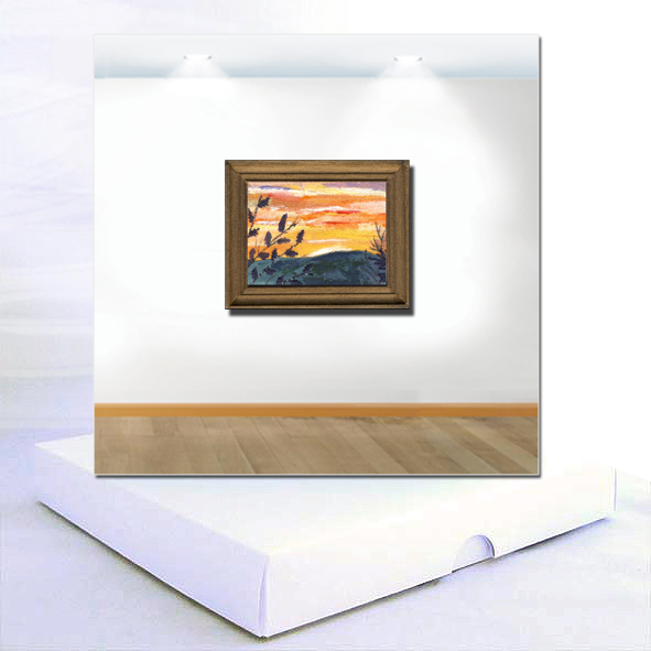 Sunset Miniature Textile Boxed Card