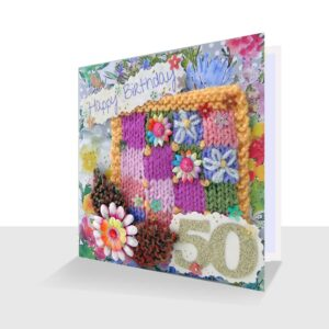 Pretty Mixed Media Textile 50th Birthday Card