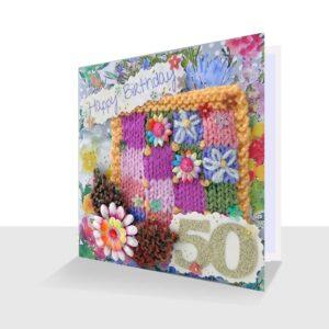 Pretty Mixed Media Textile 50th Birthday Card