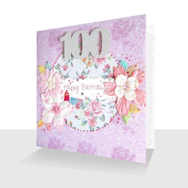 100th Birthday Card Pink