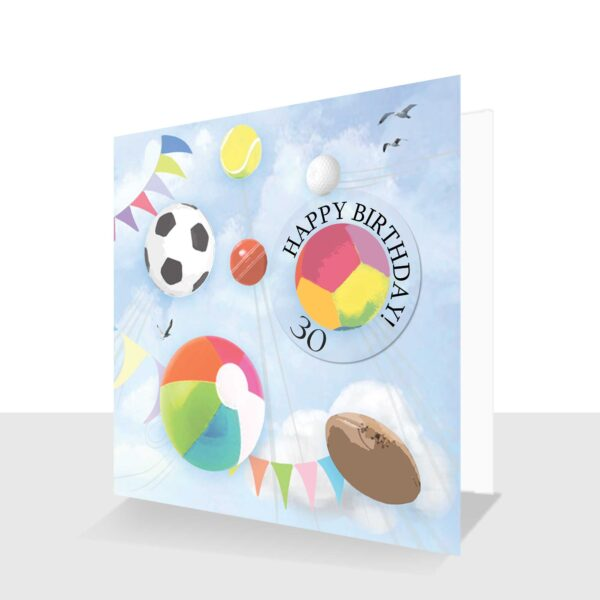 30th Birthday Card Sports