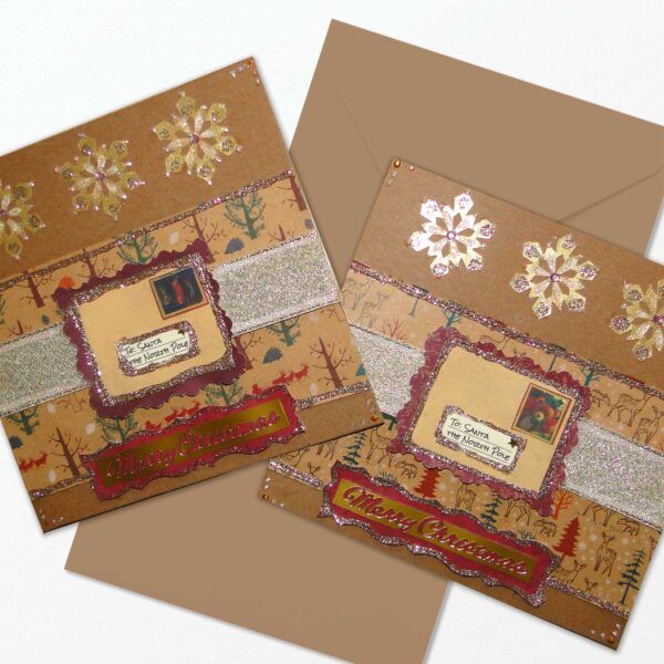 2 x Shabby Chic Christmas Cards