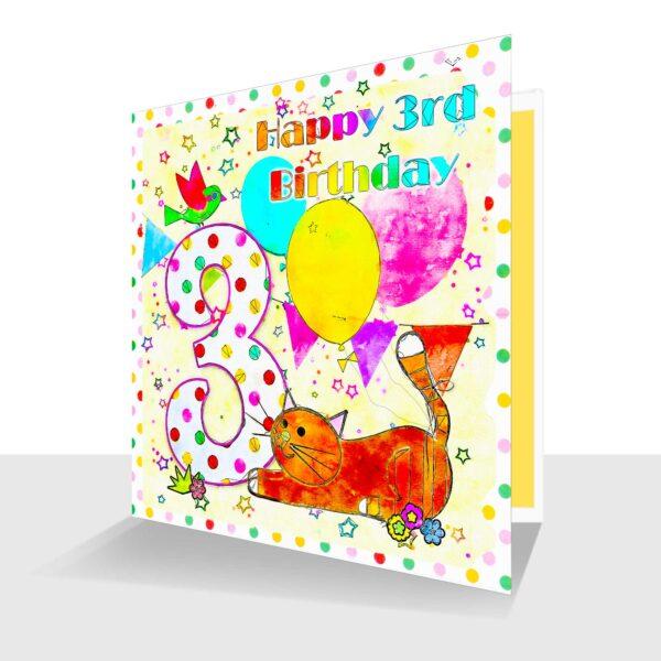 Colourful 3rd Birthday Card