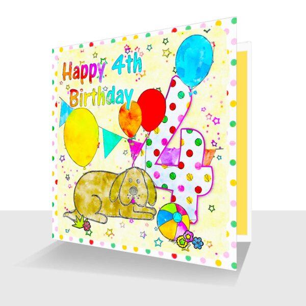 Fun 4th Birthday Card.