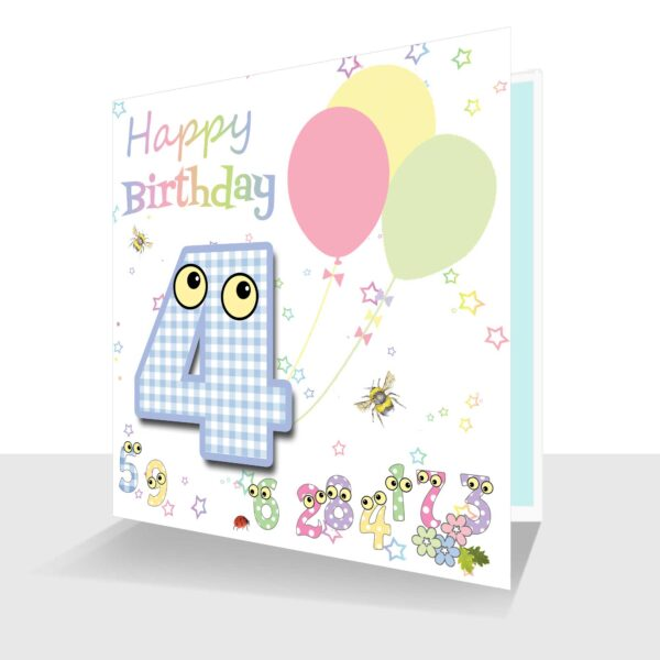 4th Birthday Card The number people