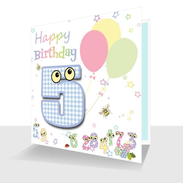 Childs Card -5th Birthday Card -The Number People