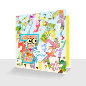 Colourful 7th Birthday Card