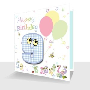 Childs Card 9th Birthday Card -The Number People