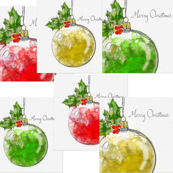 Baubles Christmas Cards Assorted 6 pack