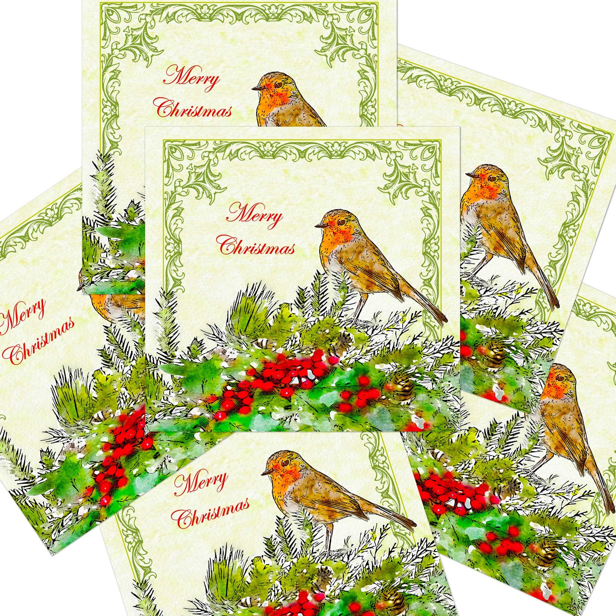 Traditional Robin Christmas Cards