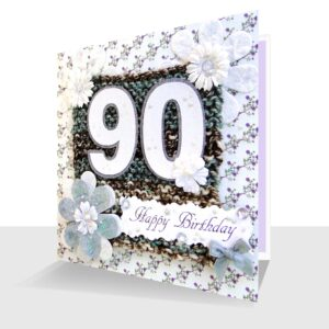 Textile 90th Birthday Card