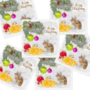 Cute Mouse & Cheese Christmas Cards