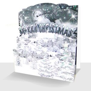 Pop up Christmas Card Snow Scene - 3d Sparkle Luxury Handmade