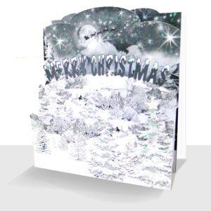 Pop up Christmas Card Snow Scene - 3d Sparkle Luxury Handmade