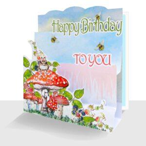 Autumn Happy Birthday Card Pop up Mouse & Blackberries