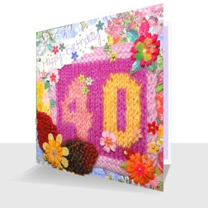 Textile 40th Birthday Card