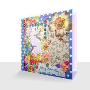 Humming bird mixed media Birthday Card
