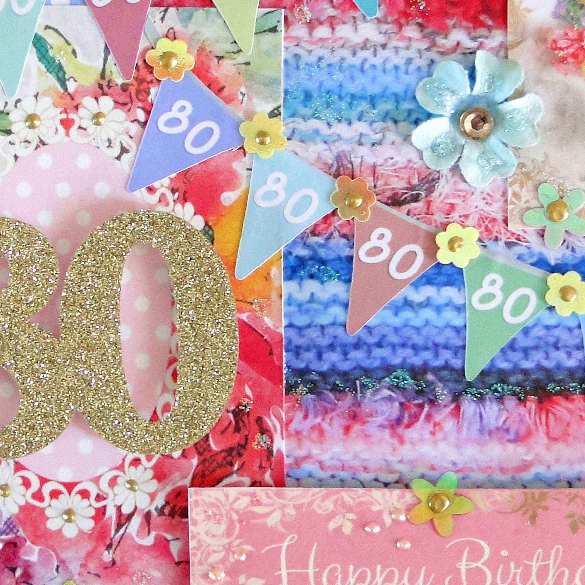 80th happy birthday card  pretty floral design  paradis