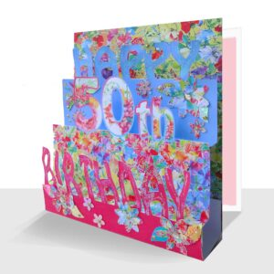 A luxury pop up 50th Birthday Card hand embellished with lots of added flowers and hearts, sparkle sequins and gems.