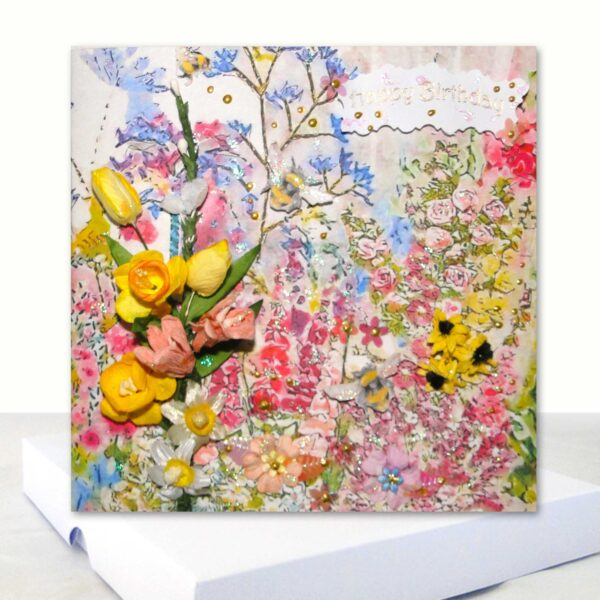 Luxury Boxed Birthday Card Extra Special Happy Birthday Cottage Garden Design