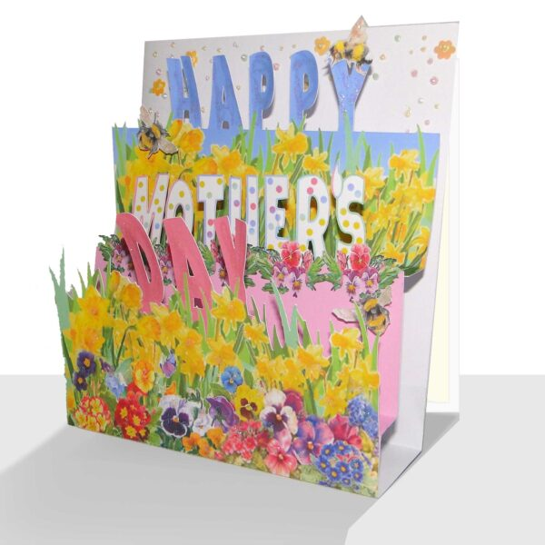 Luxury 3d Mother's Day Card - Spring Flowers - Mothering Sunday A luxury pop up Mother's Day Card, hand embellished with lots of spring flowers, sparkle, flower sequins and bees