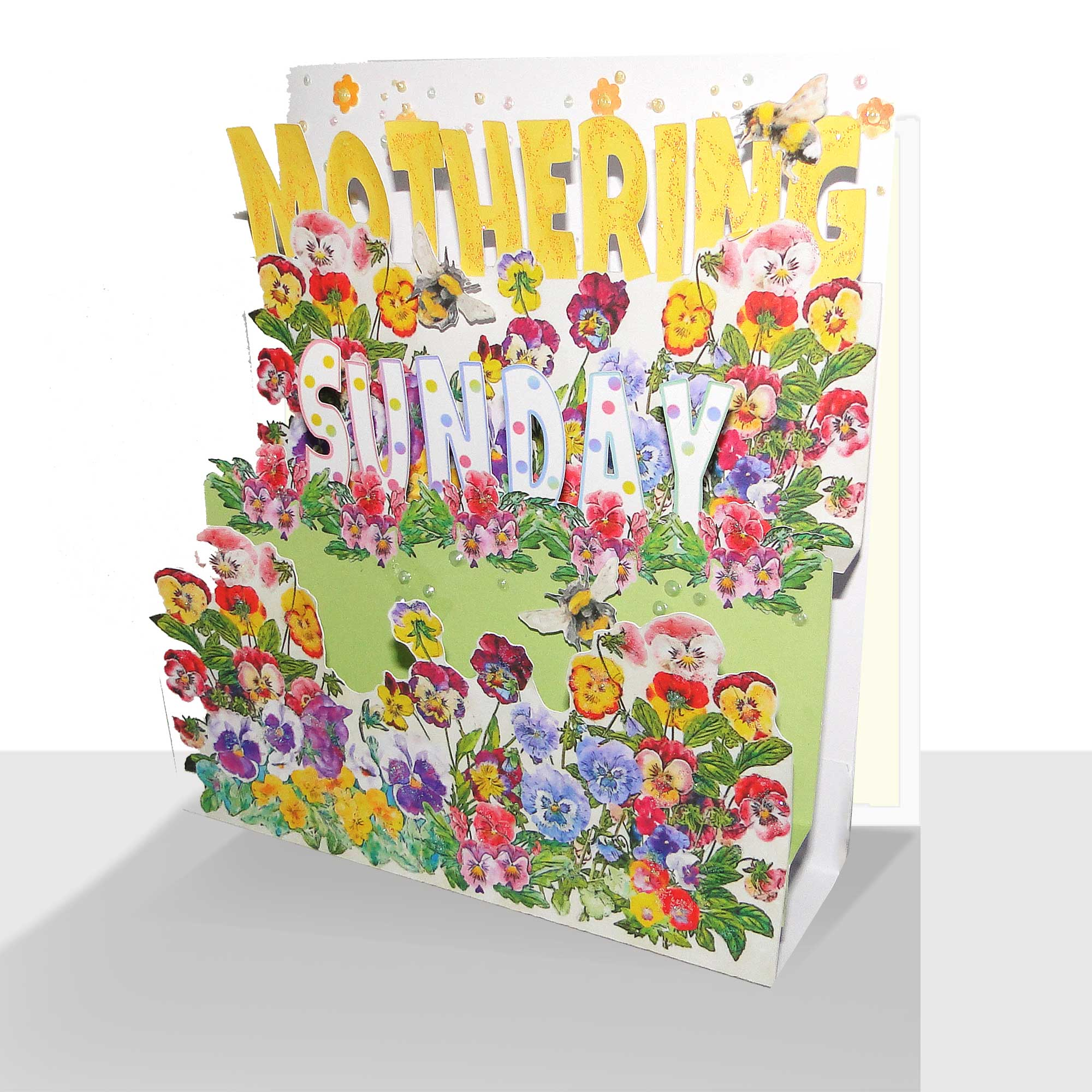 Pop Up Mothering Sunday Card – Pansies Mothers Day