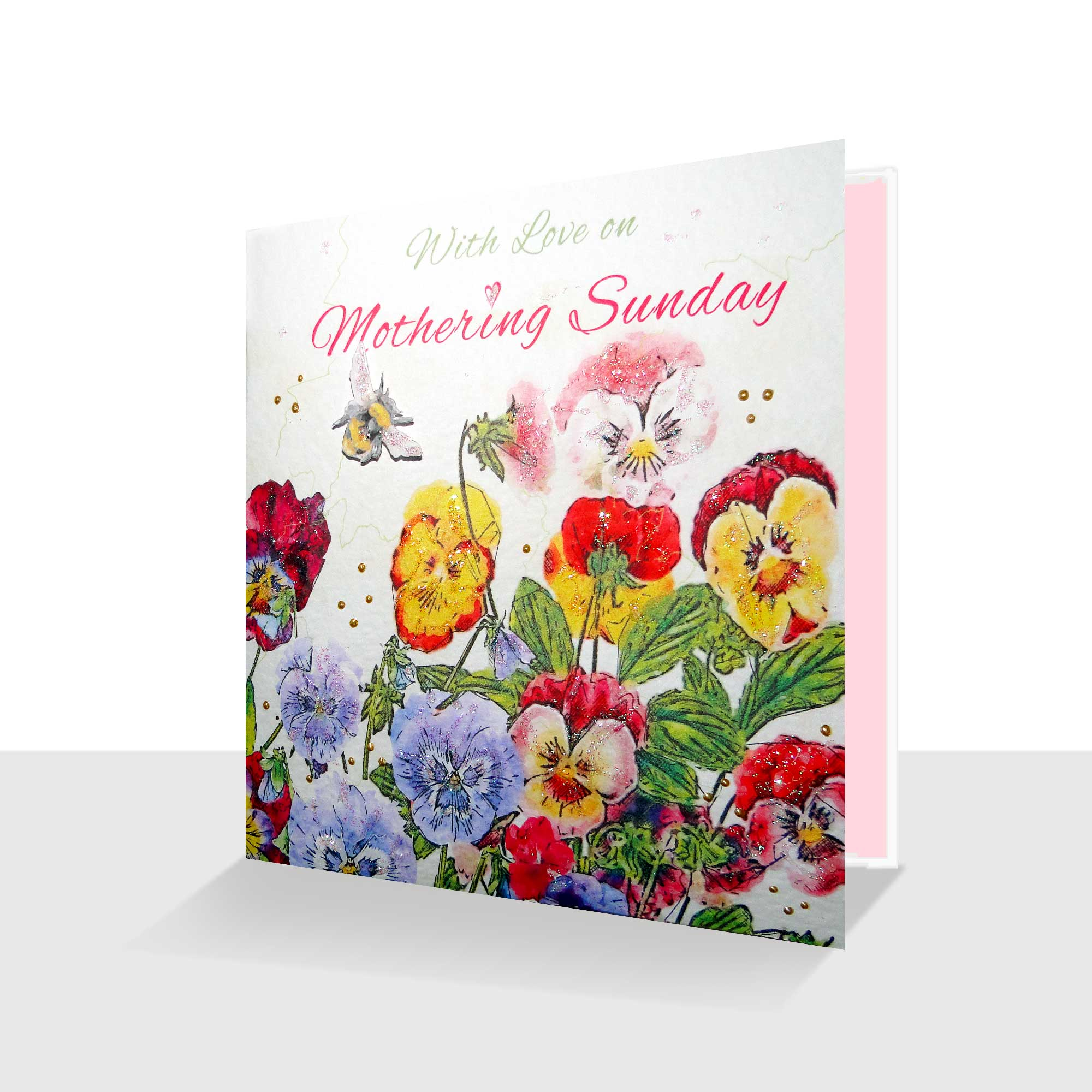 With Love on Mothering Sunday Card Colourful Pansies