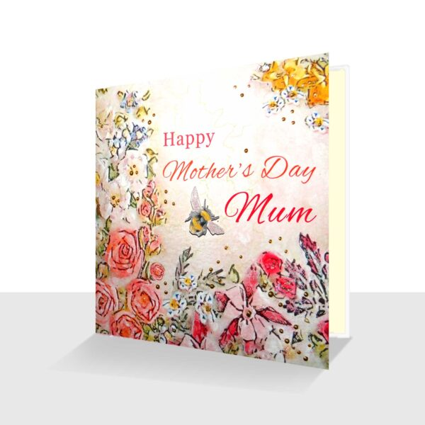 Happy Mothers Day Mum Card Pink Florals and Bee