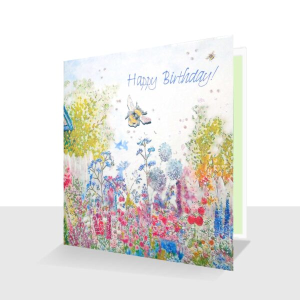 Happy Birthday Card Cottage Garden Pink Green and Blue