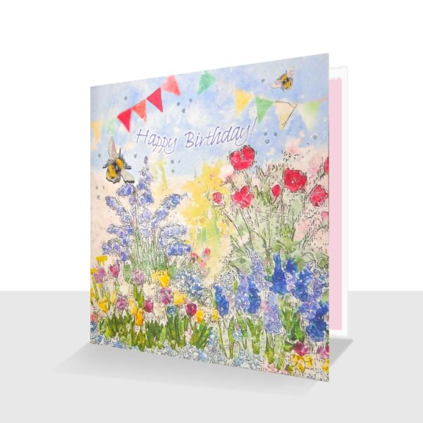Happy Birthday Card Garden Flowers